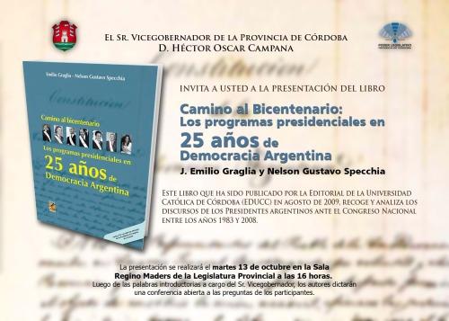 Presentación libro Graglia - Specchia en la Legislatura